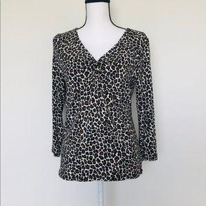 NWOT Michael Kors Medium Leopard Print Blouse Top